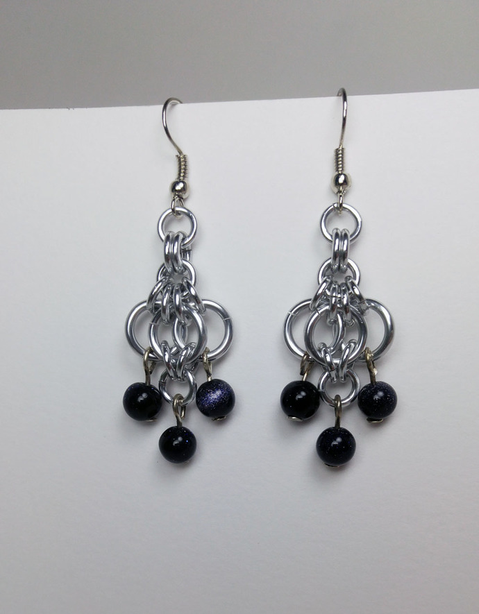 beaded chainmaille earrings