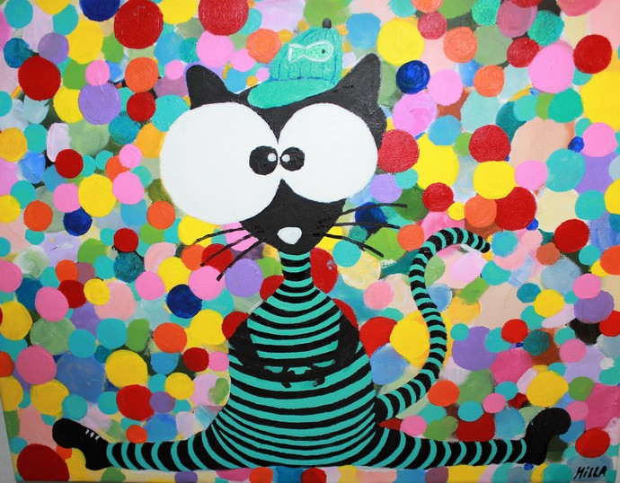 """Bombolinie Cat"" Acrylic on Canvas size 16"" x 20"" in."