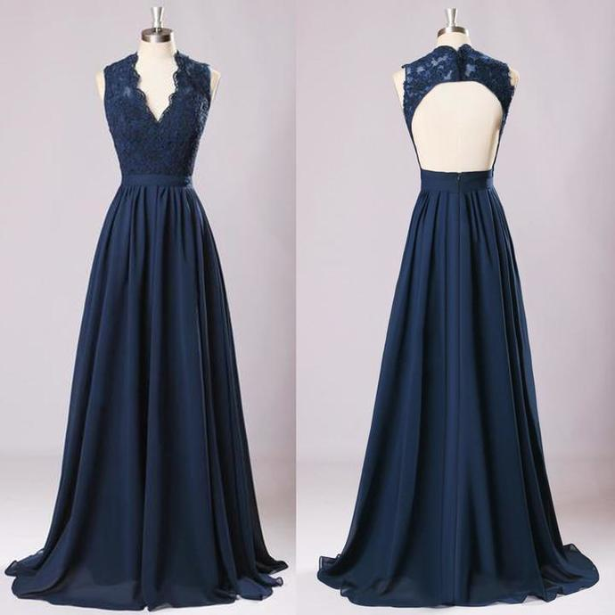 New Long Bridesmaid Dresses Navy Blue Chiffon Wedding Party Gown Off Shoulder Maid Of Honor Long Prom Gown