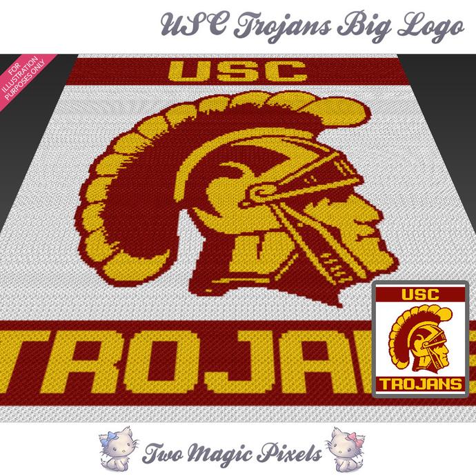 USC Trojans Big Logo crochet blanket pattern; c2c, cross stitch graph; pdf