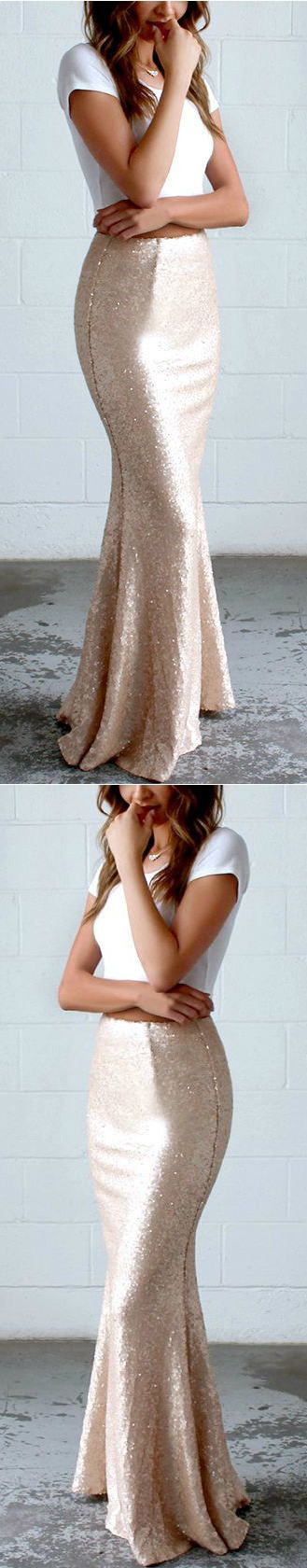 Simple Mermaid Prom Dress, Cap Sleeves Long Party Dress, Gold Sequins Evening