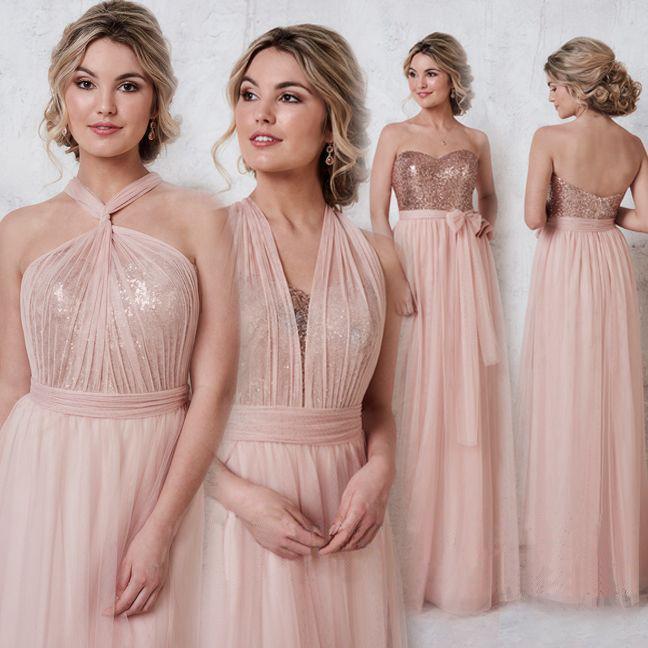 Rose Gold Sparkly Mismatched Sequin Long Bridesmaid Dresses, Cheap Unique Custom