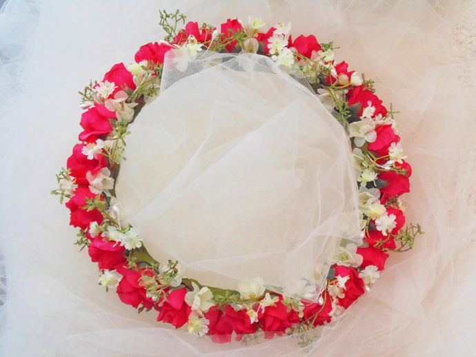 Pink Rose Garden Flower Crown, Wedding Tiara, Bridesmaid Crown, Renaissance