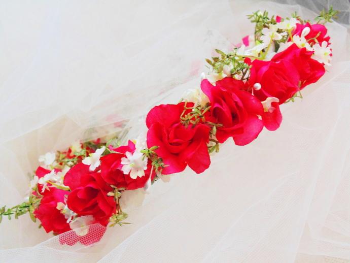 Pink Rose Garden Flower Crown, Wedding Tiara, Bridesmaid Crown, Renaissance