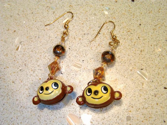 Monkey Earrings with Swarovski AB Topaz Crystal
