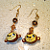 Monkey Earrings with Swarovski AB Topaz Crystal