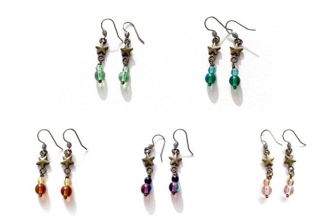 Bronze Star Earrings with Czech Glass Beads Mint Amber Purple Pale Pink