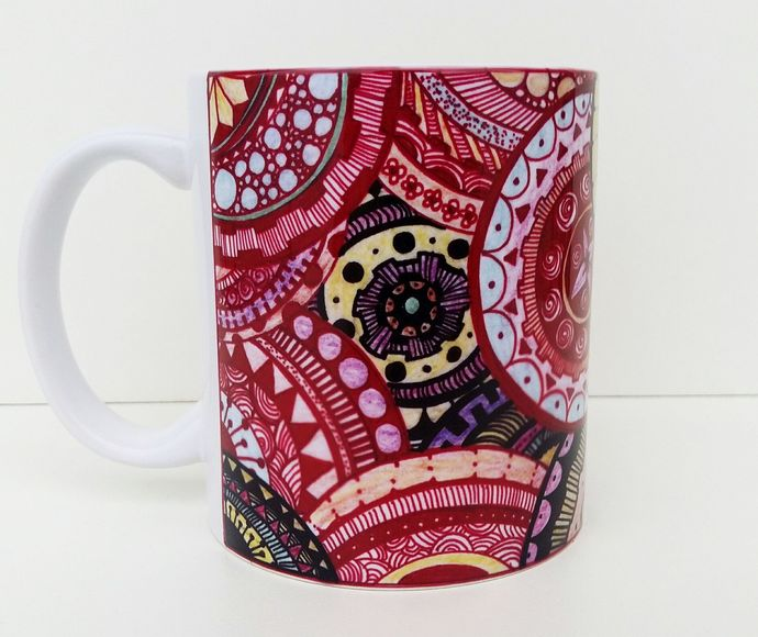 Abstract Red DMT Art Mug, Coffee Mug, Tea Cup, Transcendence, Higher Self