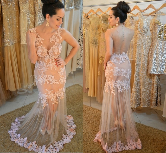 Lace Evening Gown,Elegant Prom Dress,See Though Back Evening Dress,Sheer Mermaid