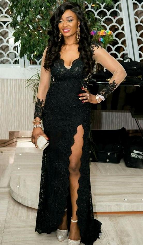 Elegant Black Evening Dresses,V Neck Backless ,Beaded Evening Dresses ,Mermaid