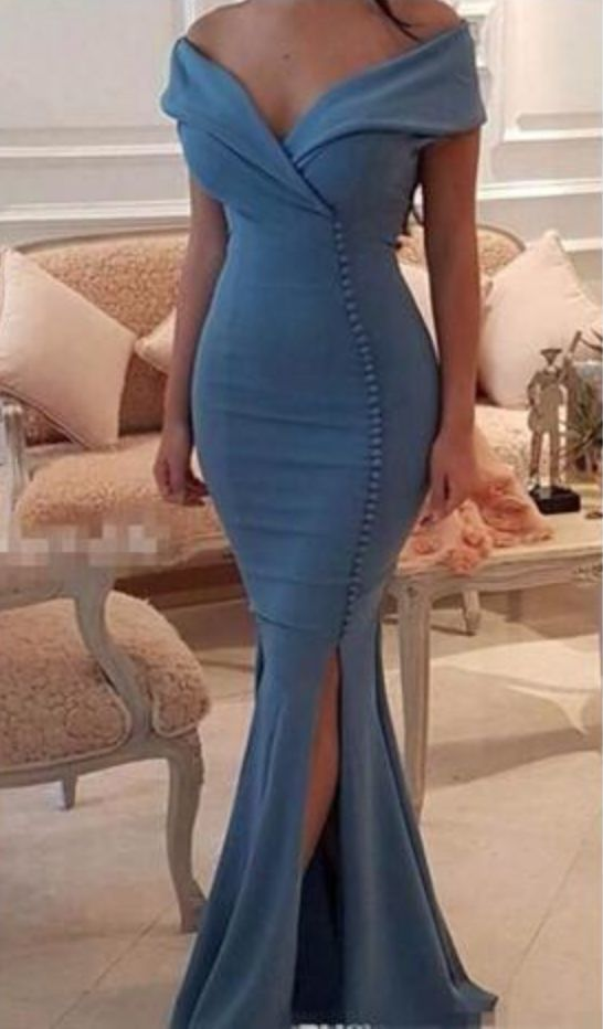 Sexy Mermaid Slit Evening Prom Dress,Mermaid Off Shoulder Sleeveless Blue Party