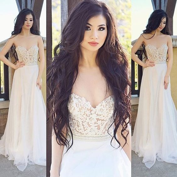 Sweetheart Neckline Chiffon Prom Dress ,Lace Applique Prom Dresses,Prom Dresses