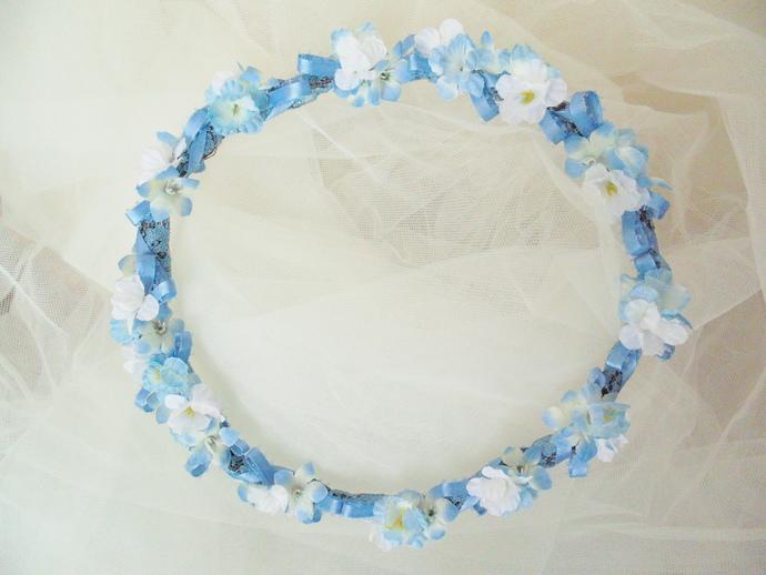 Blue and white flower crown rustic by bunnies made of bread on zibbet blue and white flower crown rustic wedding crown victorian headdress wedding mightylinksfo