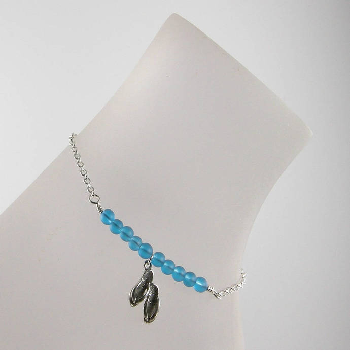 with sea anklet glass jewelry shell by lavender and