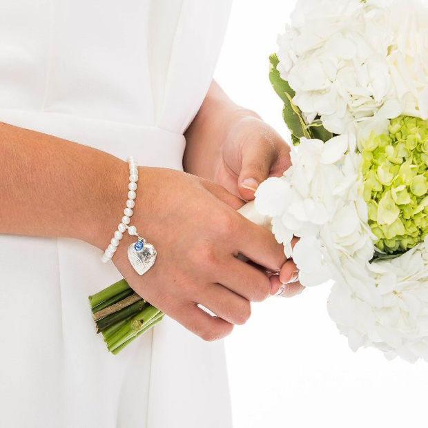 Pearl Sterling Silver Photo Locket Bracelet With Birthstone Charm