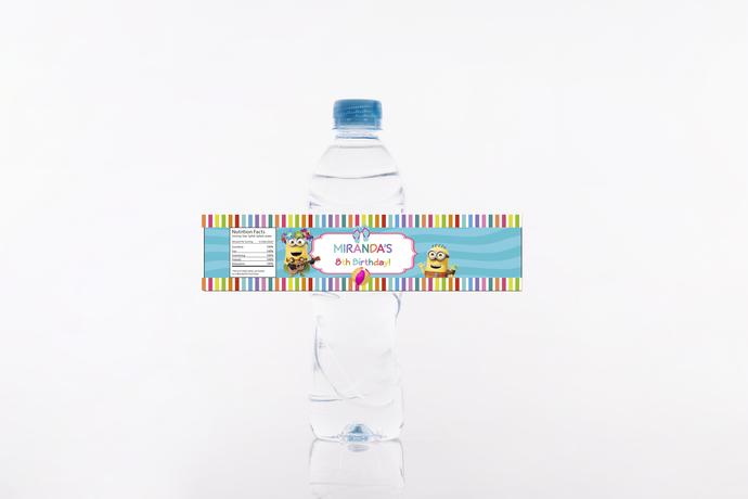 Minions Pool party birthday water bottle label -  PDF Custom