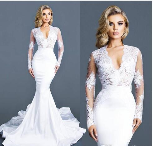 White Lace Mermaid Wedding Dresses With Long Sleeves Deep V Neck Bridal  Gowns 8d8cd28f4