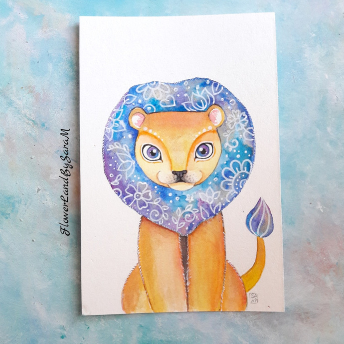 Original watercolor lion painting. 10x15cm. Ready to ship.