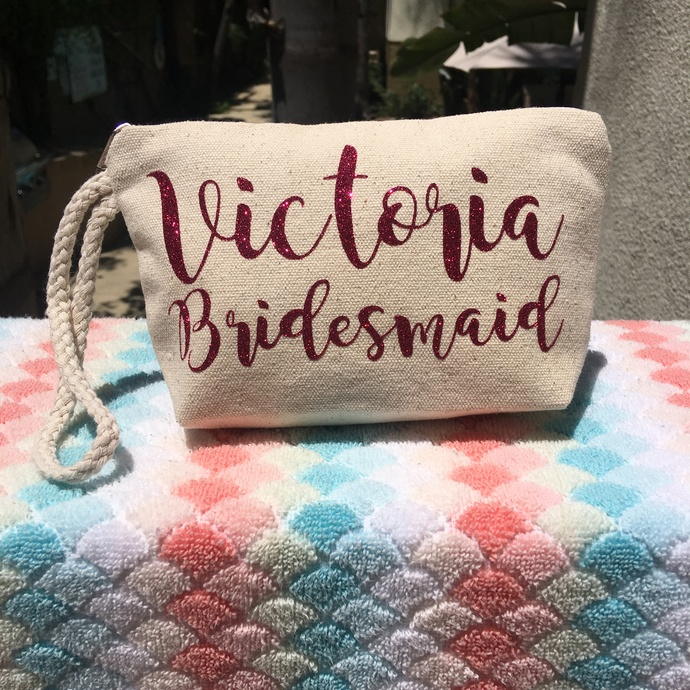 personalized clutch, custom Makeup Pouch, personalized bridesmaids gifts,