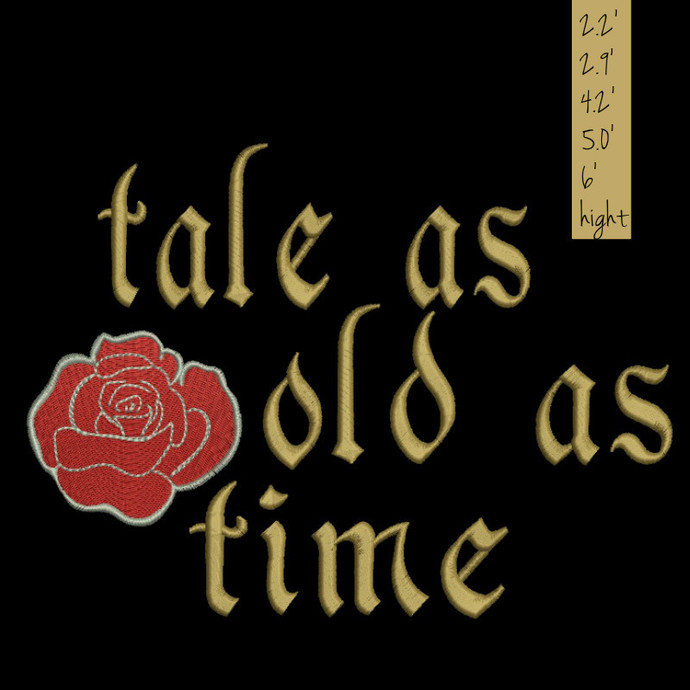 Tale as old as time Embroidery Designs Beauty and the Beast Rose Machine designs