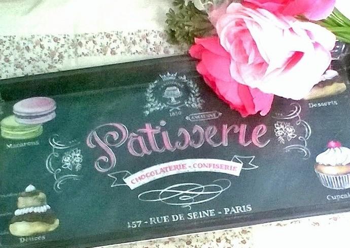 Black Melamine Serving Tray, Vintage Patisserie Shop Ad