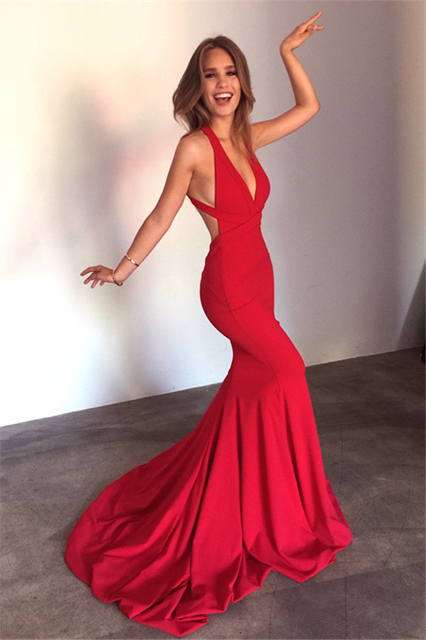 Mermaid Open Back Sexy Formal Dress Deep V Neck Red By