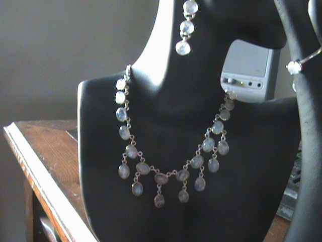 102 CT!TOP GRADE RAINBOW MOONSTONE 925 SILVER NECKLACE & EARING & RING SETS