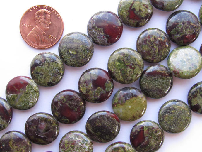 Jasper BEADS 15mm Coin Dragon Blood Quality Grade Gemstone  Natural Red Green