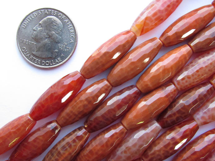 """Dragon Vein BEADS FIRE AGATE Faceted 25x9mm Barrel 16"""" Strand 16 pc Tube Natural"""