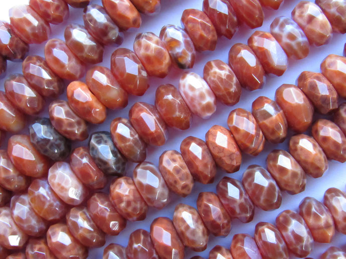 "Fire AGATE BEADS Faceted 12mm Rondelle 15.5"" Strand 64 pc Natural Orange"