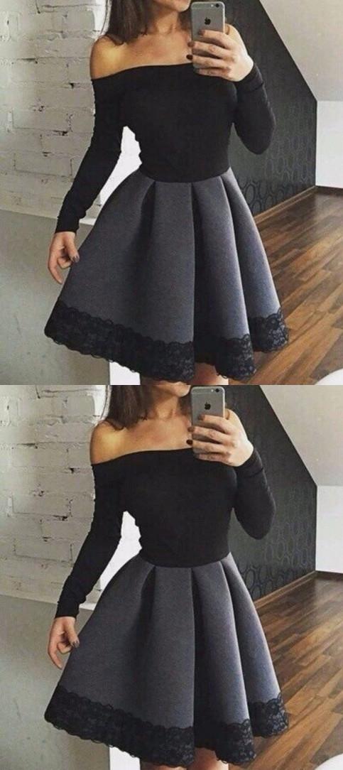 39902ed6b58 Elegant black long sleeve short prom by MeetBeauty on Zibbet