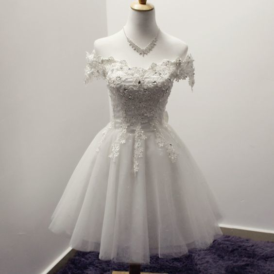 White Homecoming Dress,Lace Homecoming Gown,Lace Homecoming Dresses,Tulle