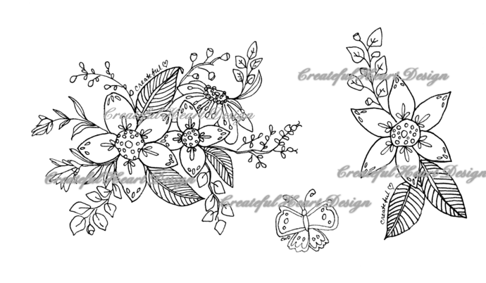 Florals set of 3, digital stamps (zipped folder)