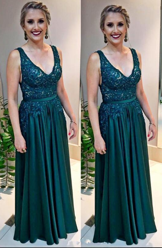 Cheap Hunter Green Long Prom Dresses V Neck by prom dresses on Zibbet
