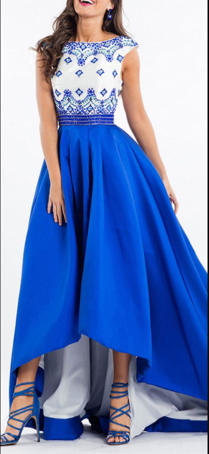 Splendid Satin Bateau Neckline Cap Sleeves Hi-lo A-line Prom Dress With Beadings