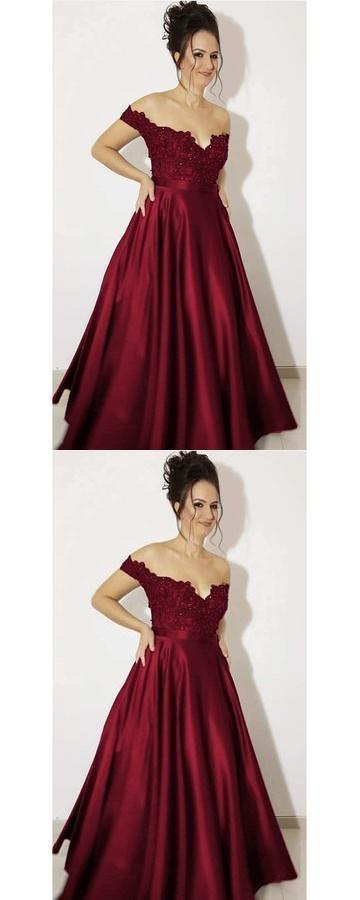 f484f05c886 Elegant Lace Beaded V-neck Off Shoulder Satin Evening Dress Long Prom Gowns