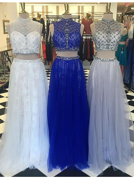 Sexy Prom Dress,Sleeveless Prom Dress,Long Prom Dresses ,Two Piece Homecoming