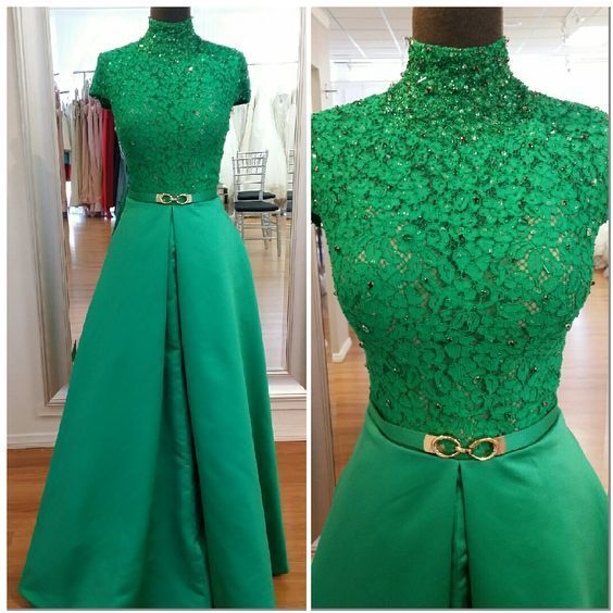 Sexy Prom Dress,Cap Sleeve Prom Dress,Long Prom Dresses ,Green Evening