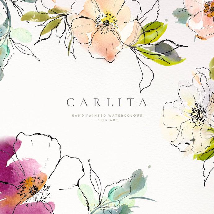 Hand Painted Watercolour Clipart - Carlita