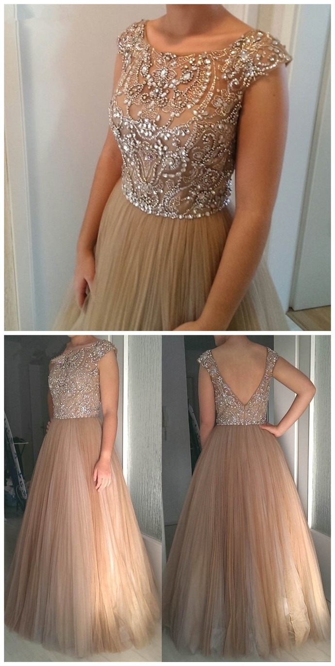 2018 Prom Dresses,Evening Dress,Crystals Prom Dress,Beaded Prom Dress,Tulle