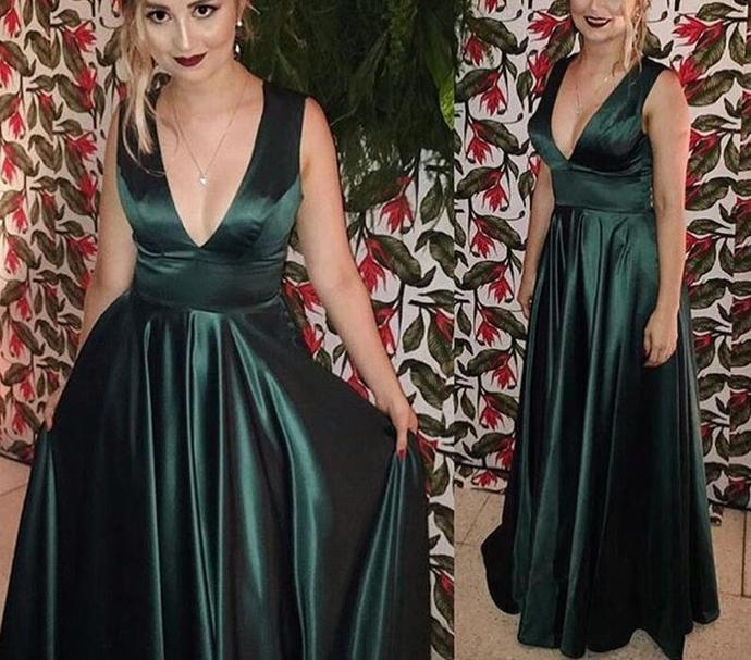 Charming Dark Green Satin Party Dresses, Evening Gowns, Formal Dresses 2018,