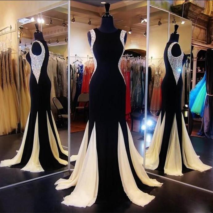 Prom Dresses,Sexy Black Mermaid 2018 Evening Dress Crystal Sleeveless