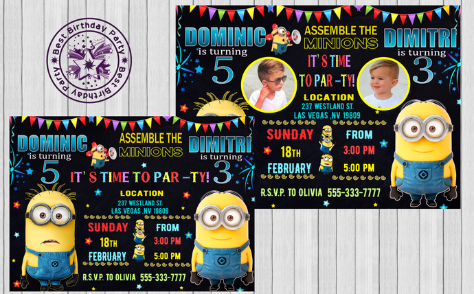 minion twin birthday invitations twin by bestbirthdayparty on zibbet