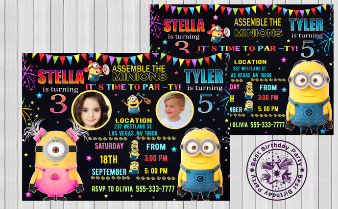 Minion Birthday Invitations Twin