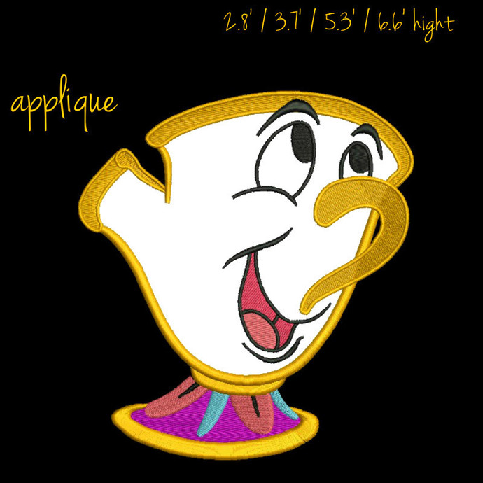 Chip the teacup Embroidery Design Beauty and the Beast Rose Machine designs
