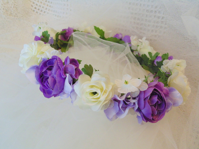 Lavender and white roses flower by bunnies made of bread on zibbet lavender and white roses flower crown bridal crown flower girl tiara mightylinksfo