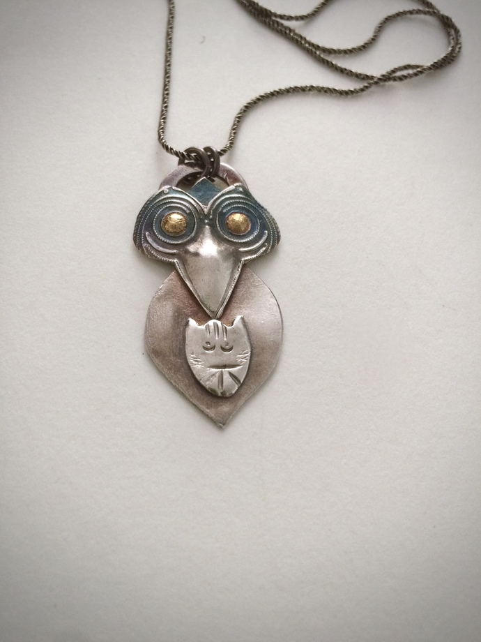 Owl necklace, Owl and Pussycat, cat jewelry, silver necklace, OOAK owl pendant,