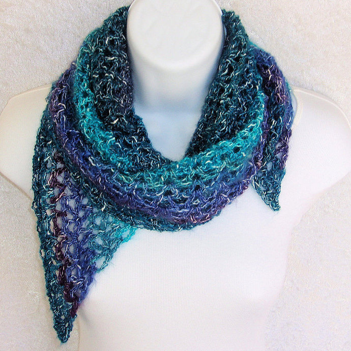Shawlette crocheted in Teal Shadows lightweight cotton-blend yarn