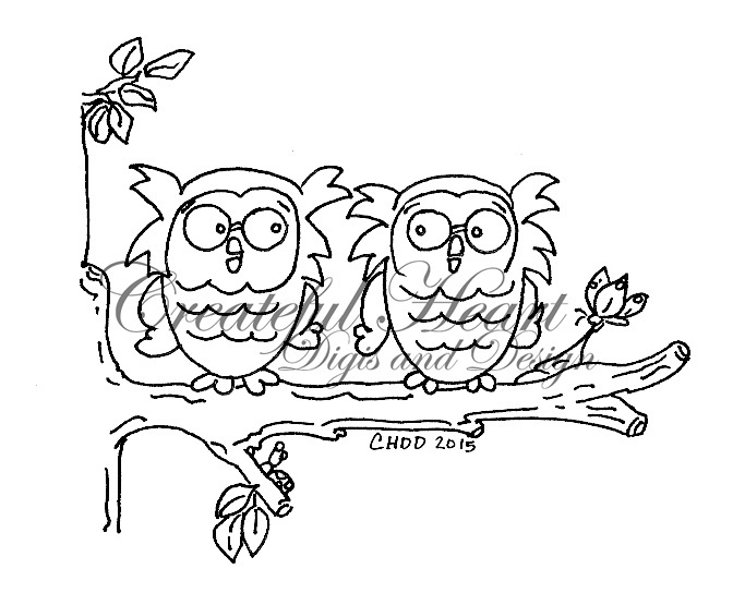 Tree Branch Owls, digital stamp