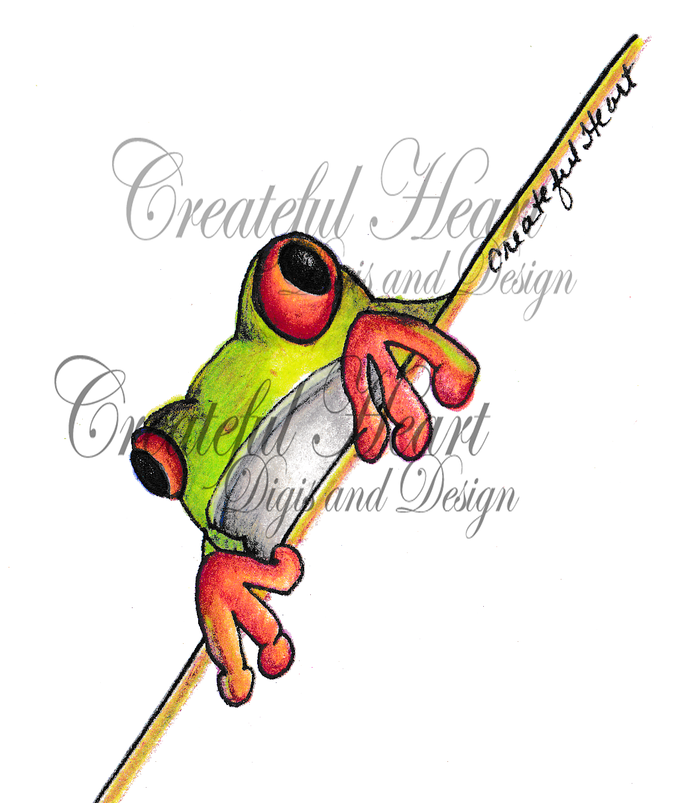Tropical Frog, pre-colored & outlined set, zipped file